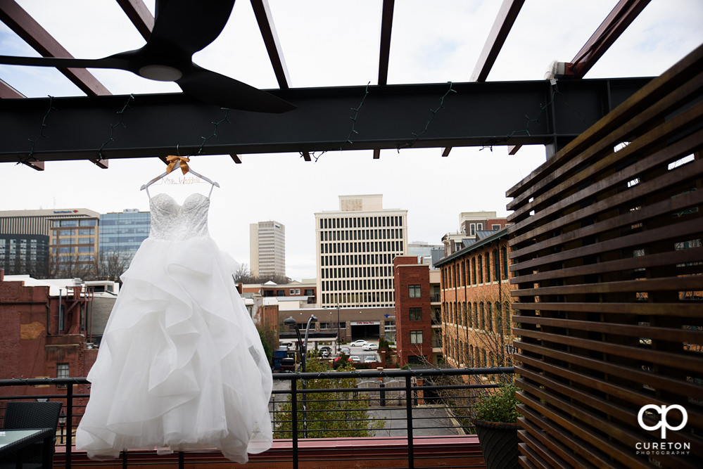 Bride's dress and Greenville skyline.