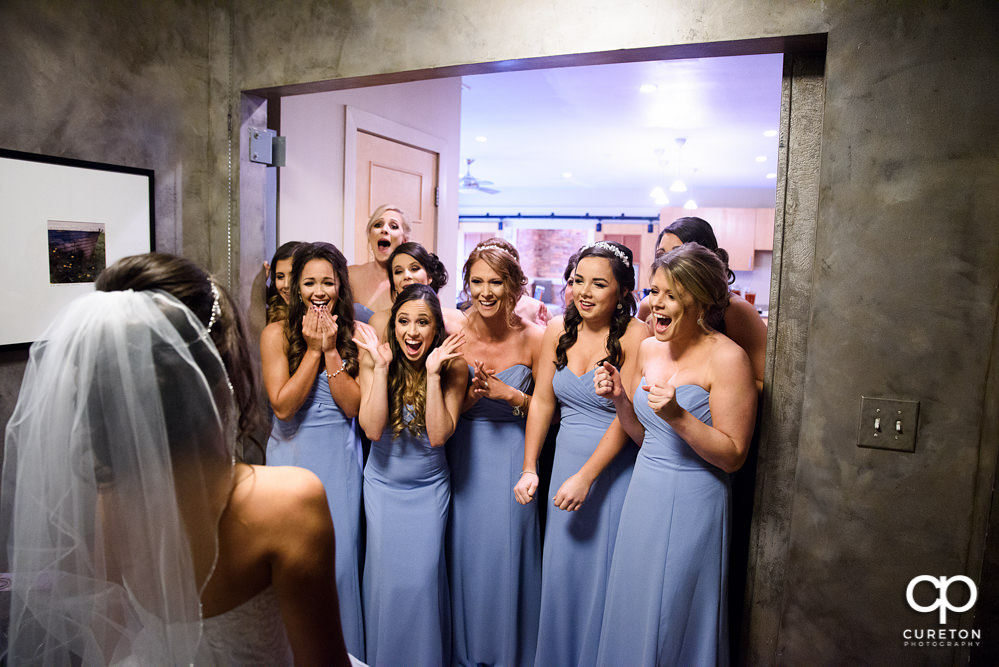 Bride revealed to her bridesmaids.