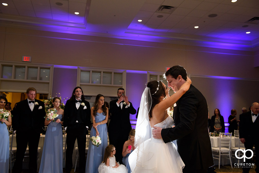 Bride and groom's first dance at their wedding reception at Younts Conference Center.
