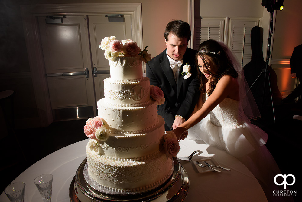 Bride and groom cutting the cake.