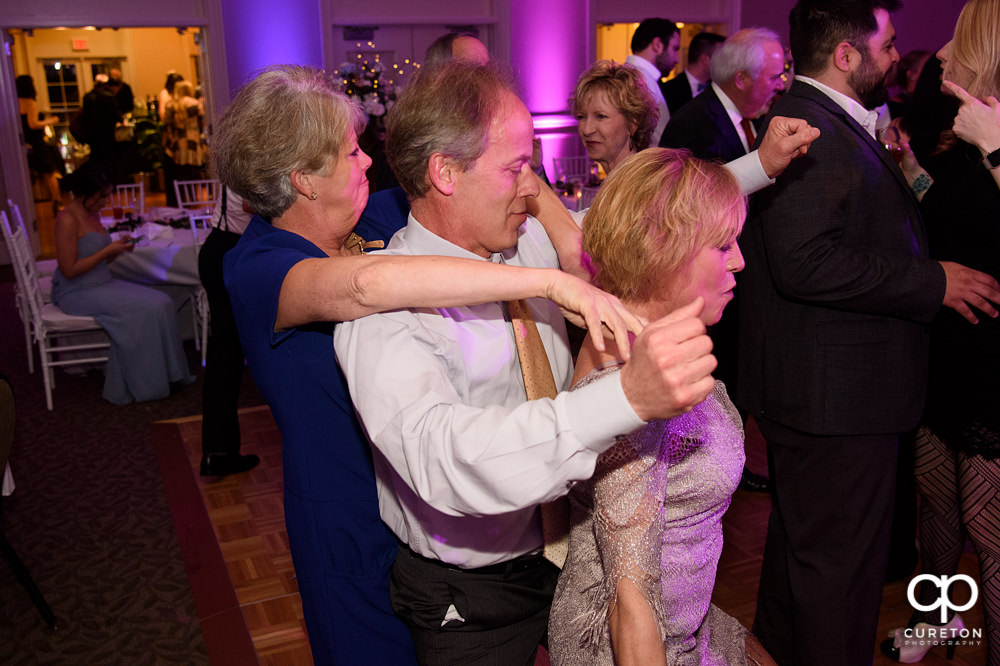 Guests dancing at the Furman reception.