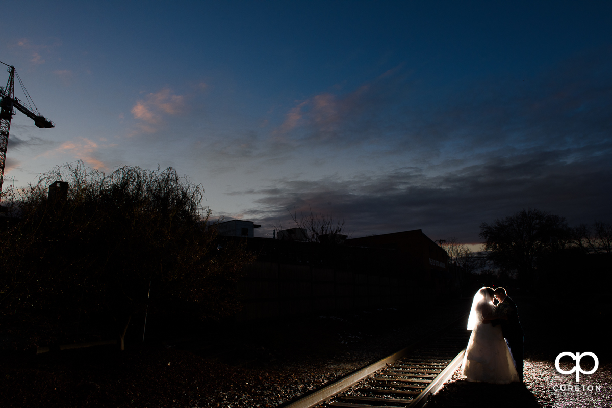 Bride and groom at sunset after their Old CigarWarehouse wedding.