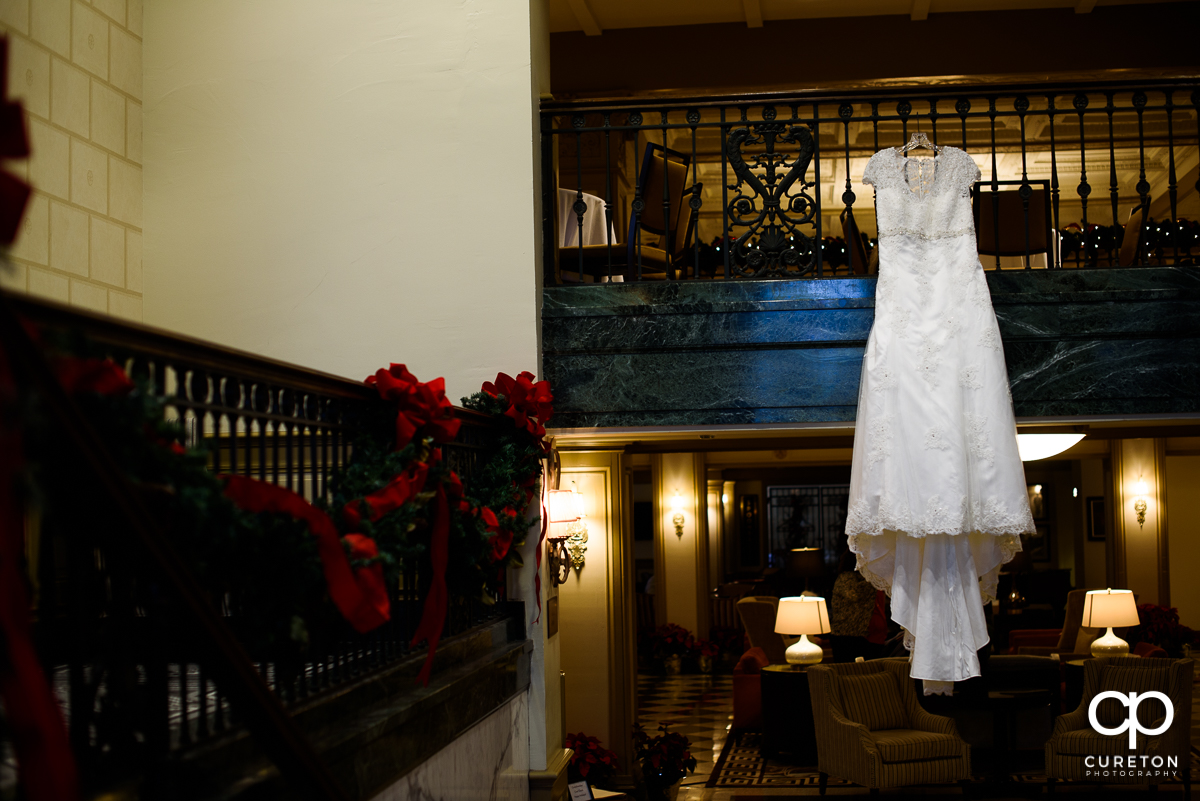 Bride;s dress hanging in the Westin Poinsett.