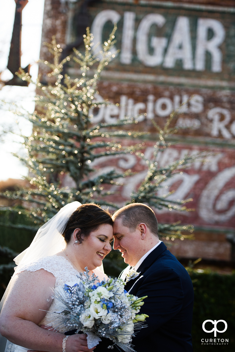 Bride and Groom outside the Old Cigar Warehouse.