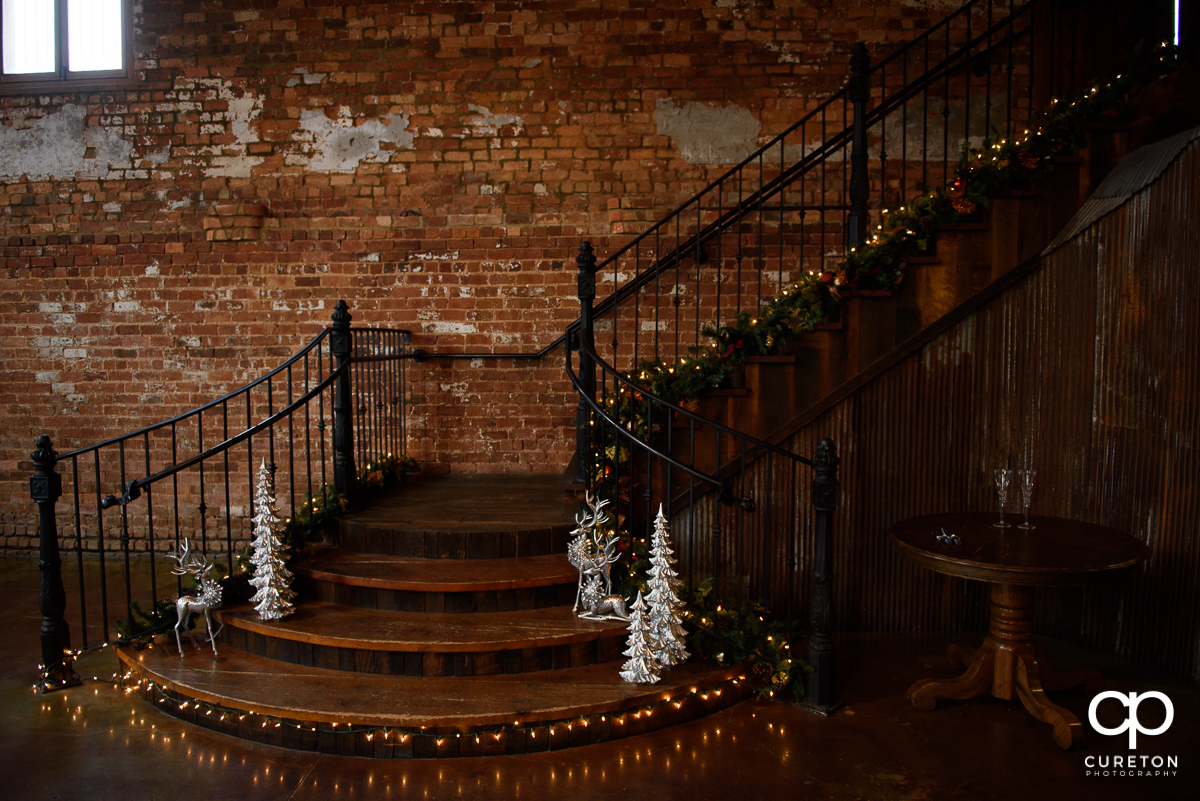 The staircase at The Old Cigar Warehouse setup for a December winter wedding.