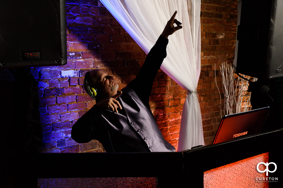Blake from Jumping Jukebox DJ at The Old Cigar Warehouse wedding reception.