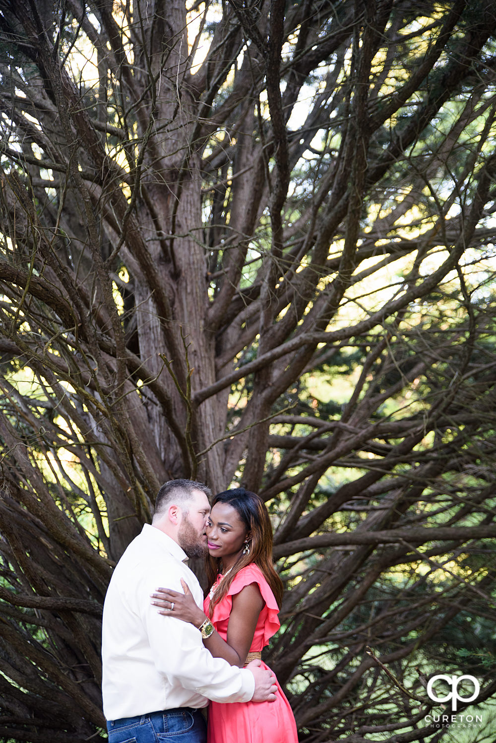 Bride and groom kissing in front of a tree.