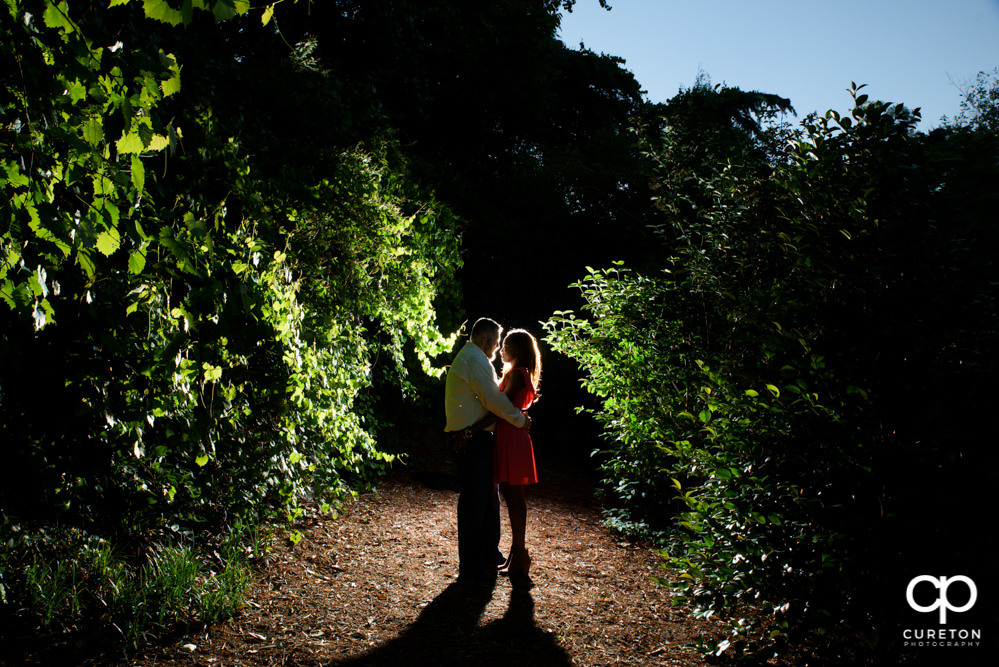 Epic engaged couple at the rock quarry garden.