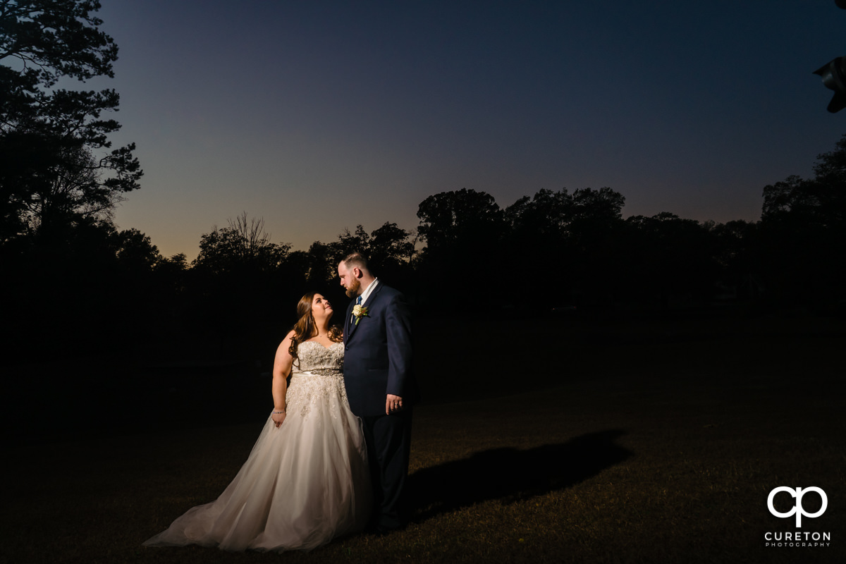 Bride and groom at sunset after their Duncan Estate wedding in Spartanburg,SC.