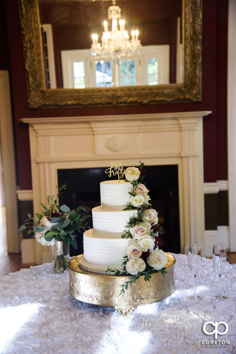 Wedding cake sitting inside the Duncan Estate.