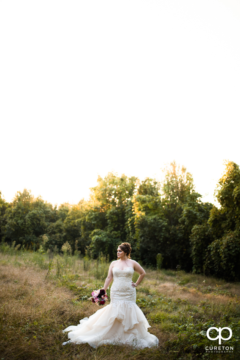 Bride walking in a field in Taylors,SC.
