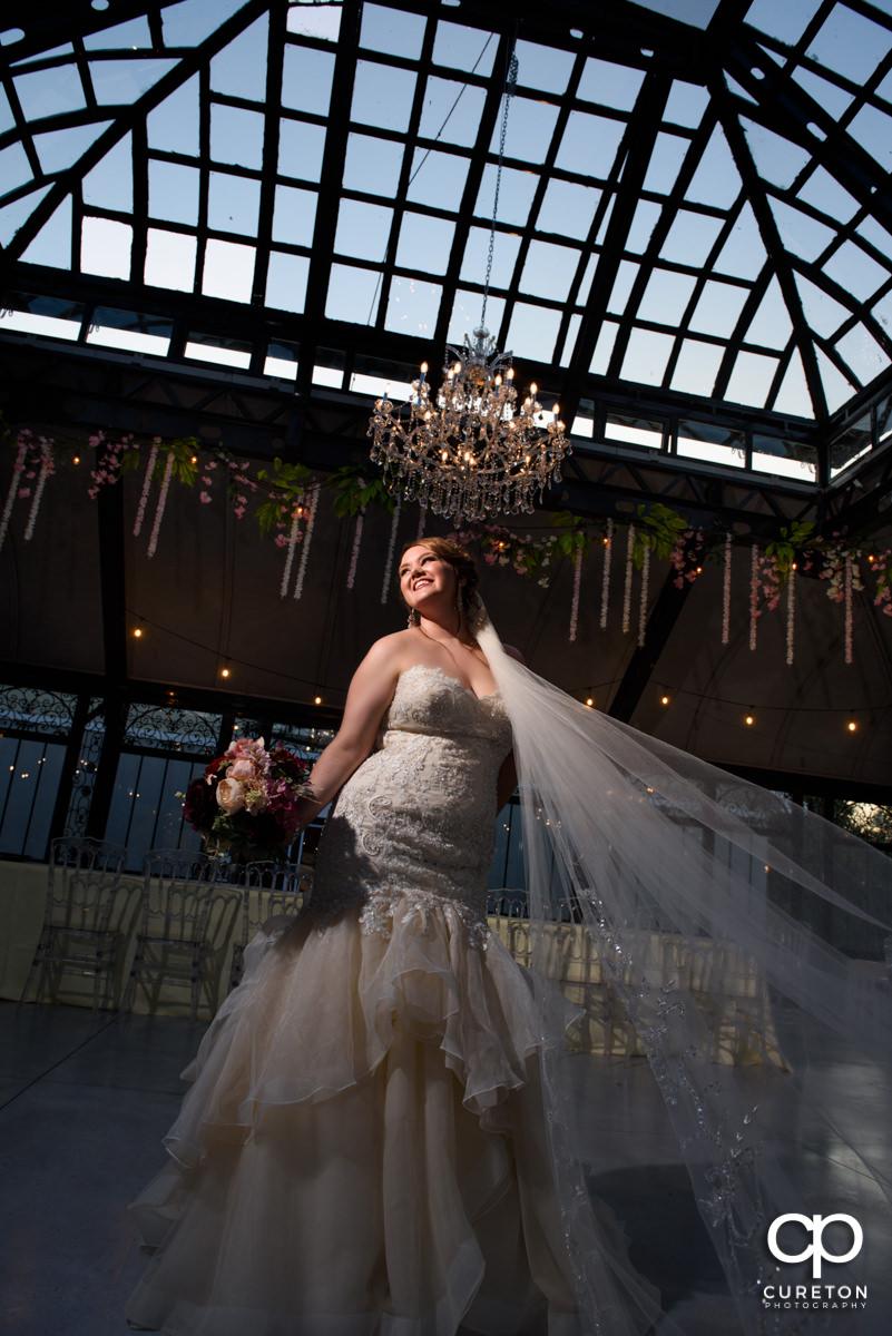 Bride inside the conservatory at Edinburgh West wedding venue in Taylors,SC.