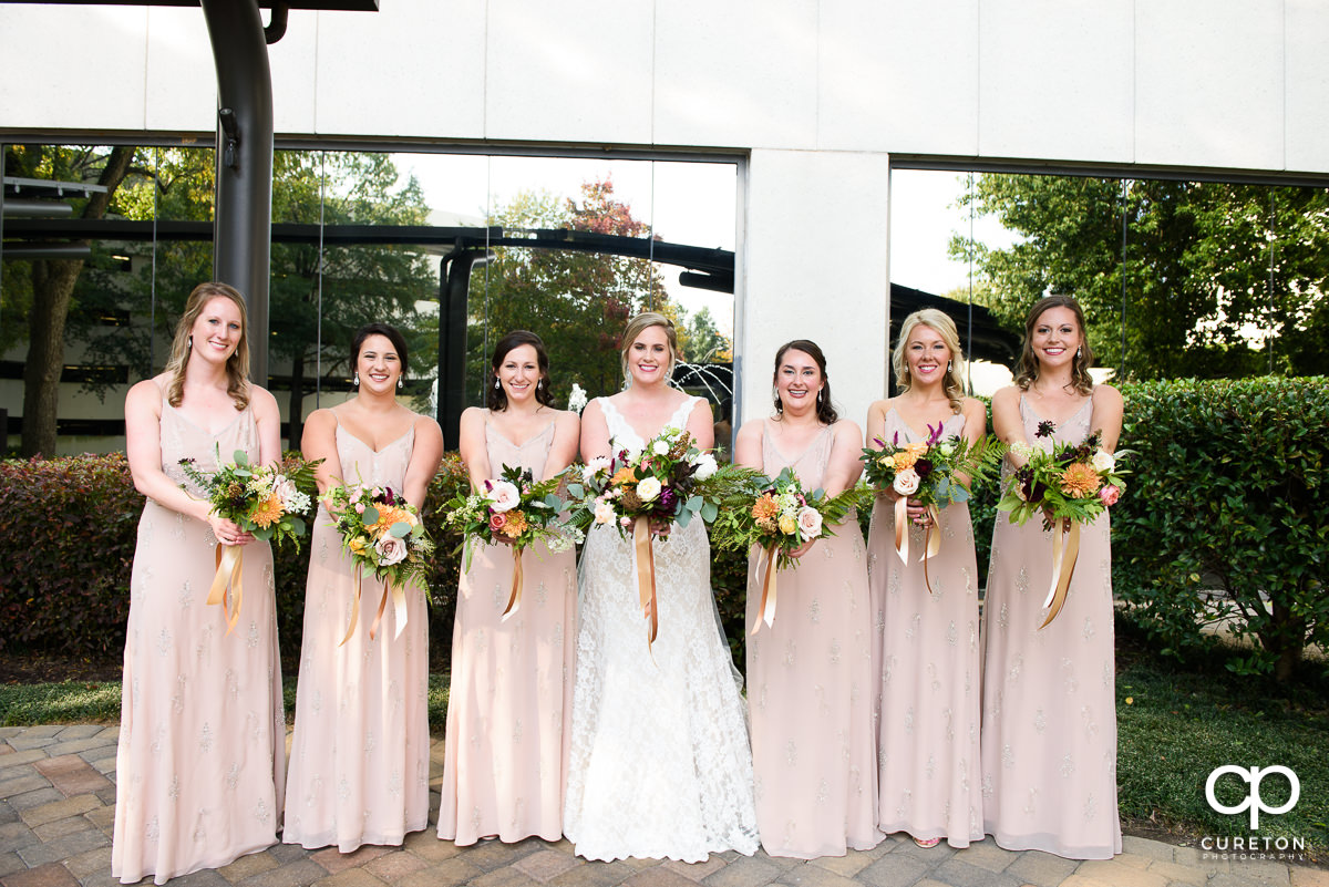 Bride and her bridesmaids at The Commerce Club.
