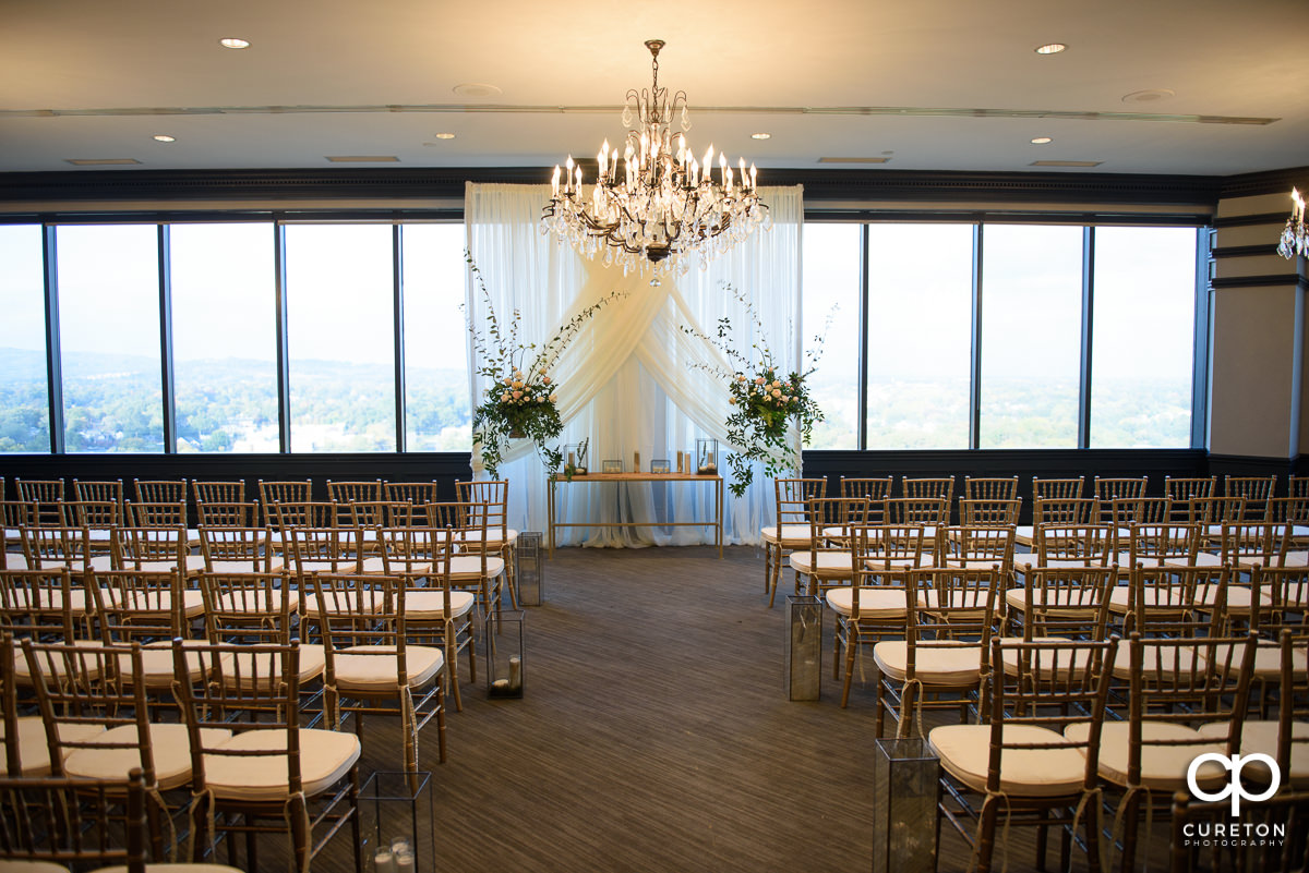 The Commerce Club setup for a wedding ceremony with Chivari chairs.