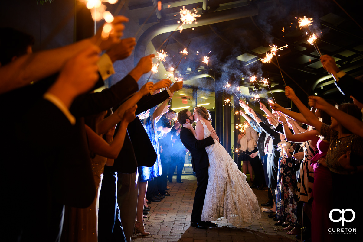 Sparkler exit at The Commerce Club wedding reception in Greenville,SC..