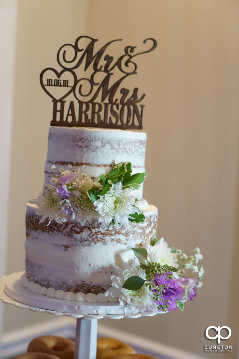 Wedding cake and topper.