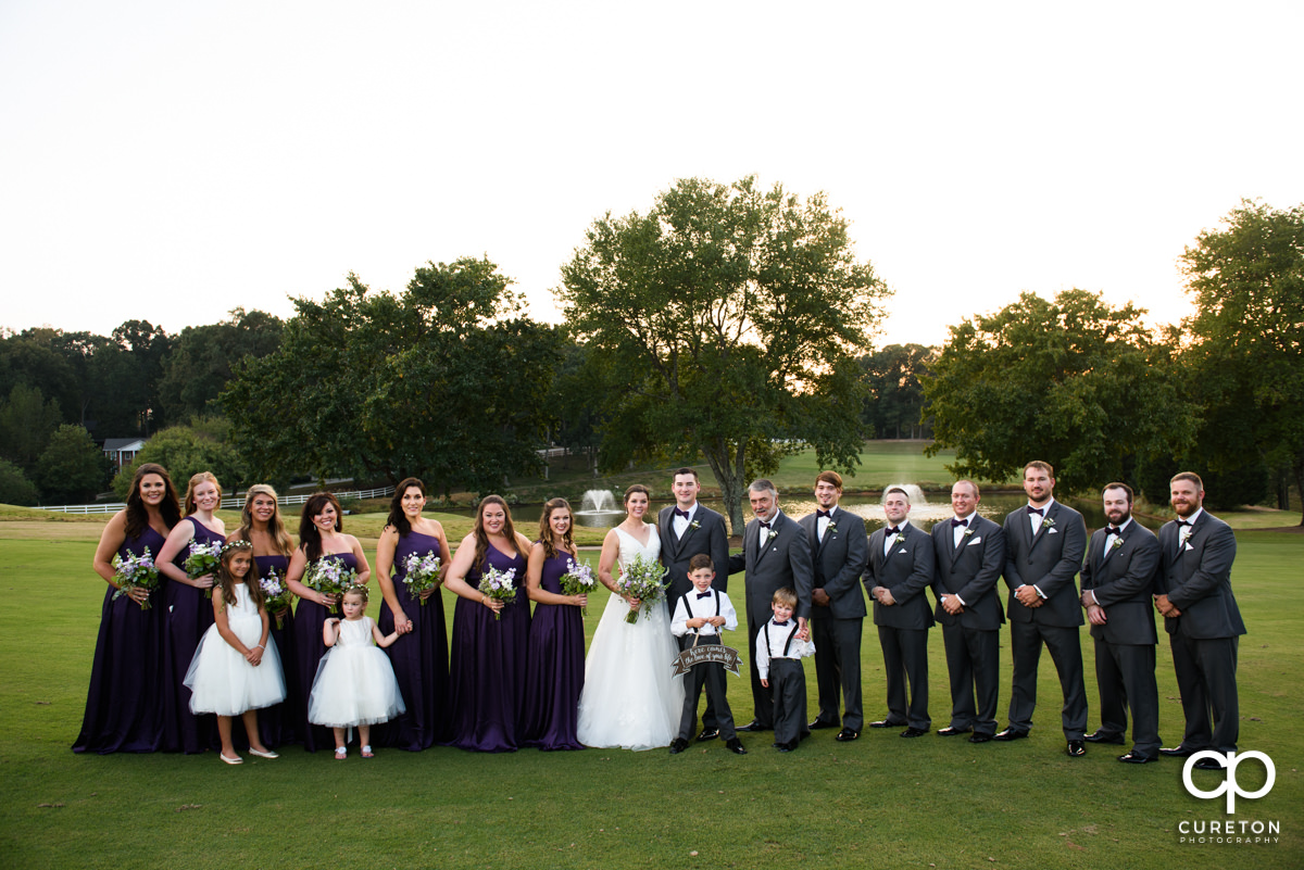 Wedding party on the golf course at Holly Tree.