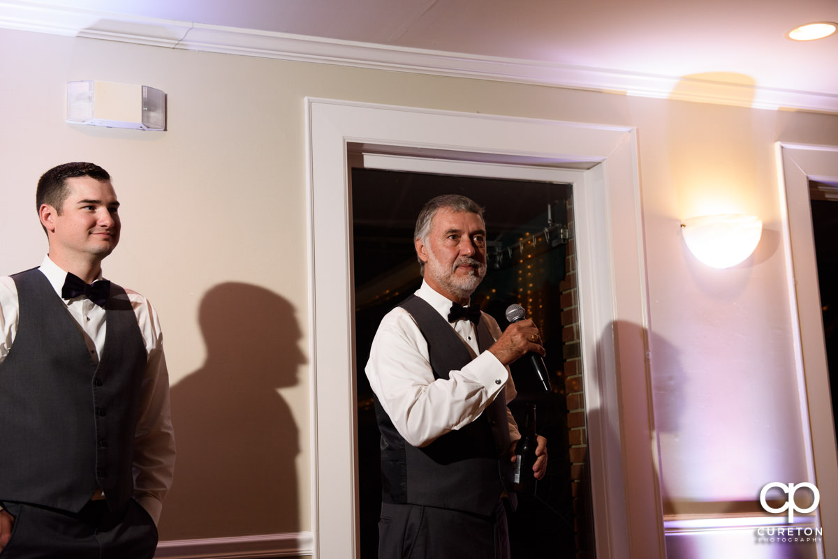 Groom's father giving a speech.