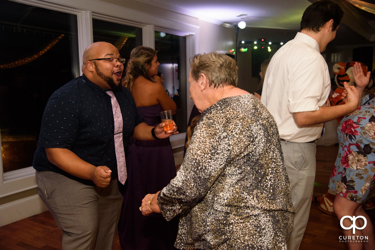 Grandma dancing at the reception.