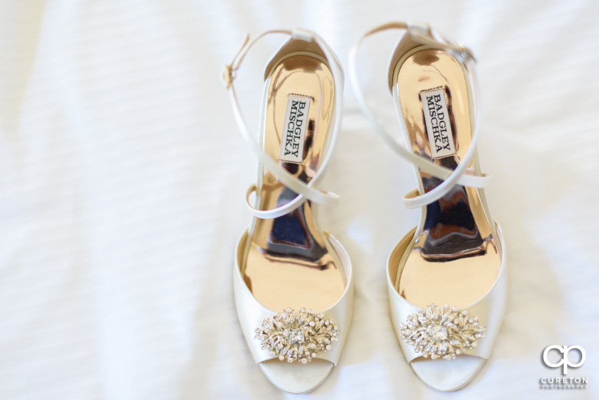 Bride's shoes by Badgley Mischka.