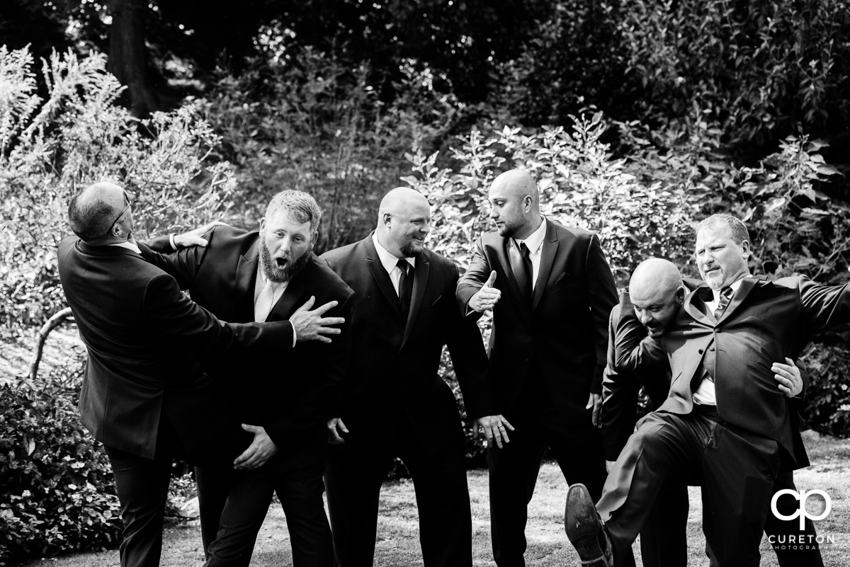 Groomsmen fighting.