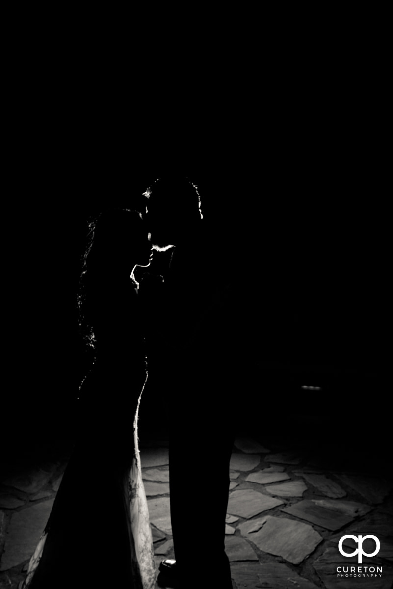Silhouette of the bide and groom.