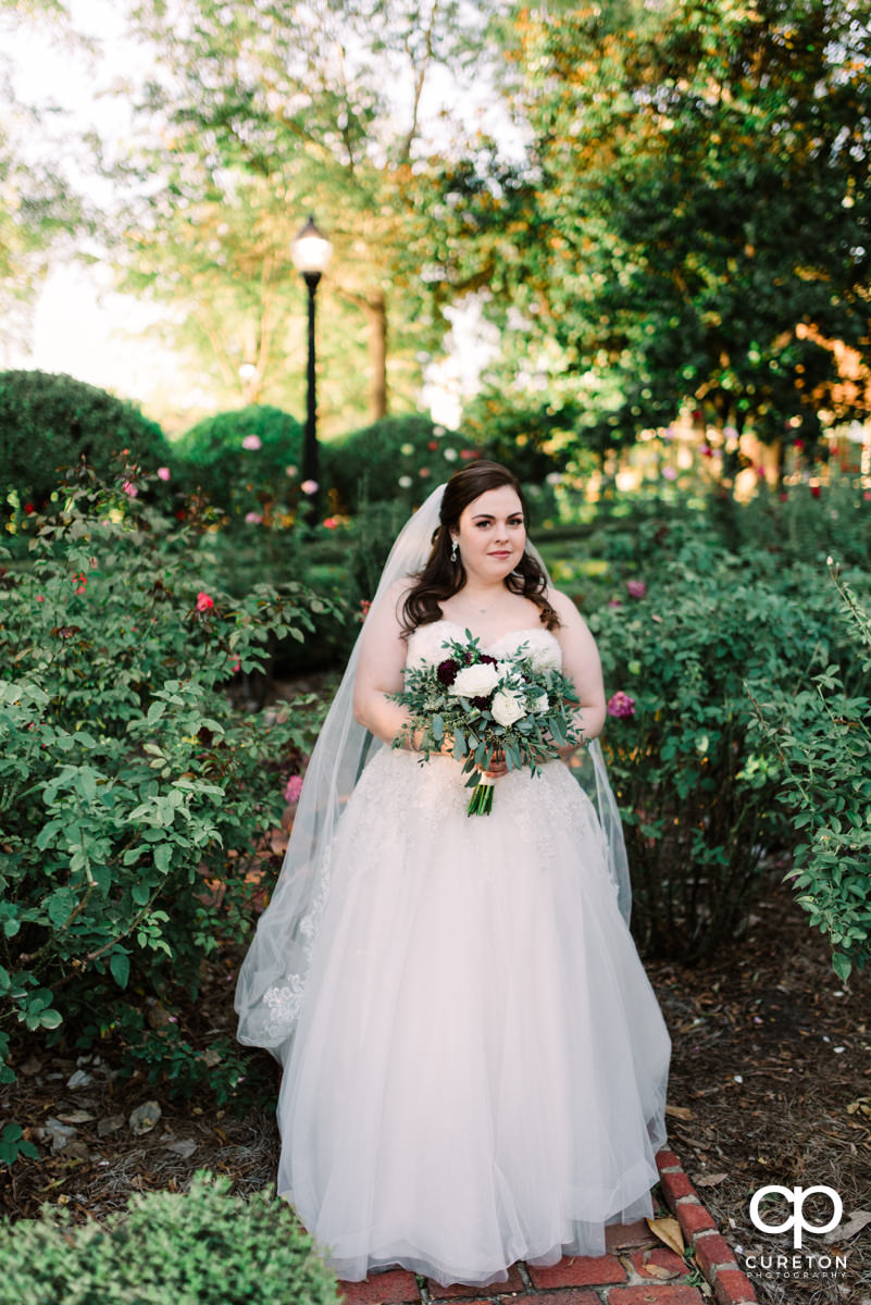 Bride in the rose garden at Furman University.