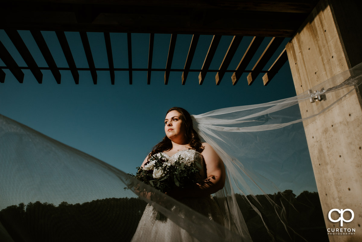 Bride looking into the sunset with her veil blowing in the wind by the lake at Furman University.