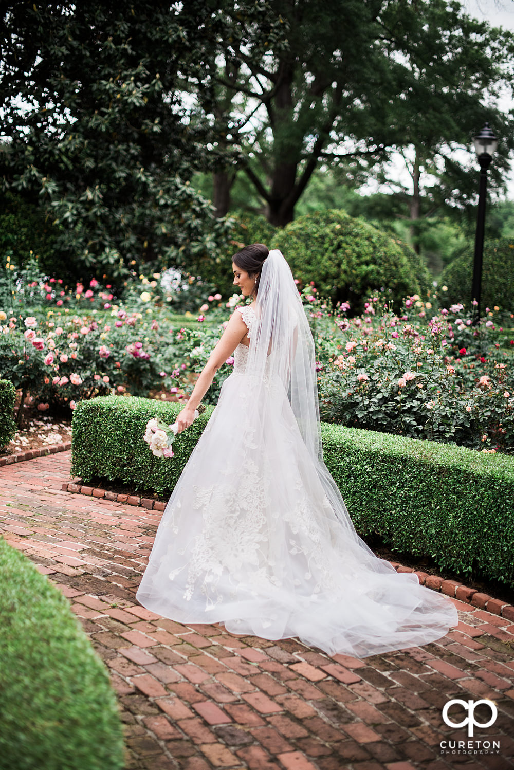 The back of the bride's dress.