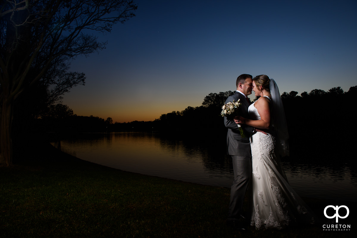 Bride and groom after their rose garden wedding at Furman in Greenville,SC.