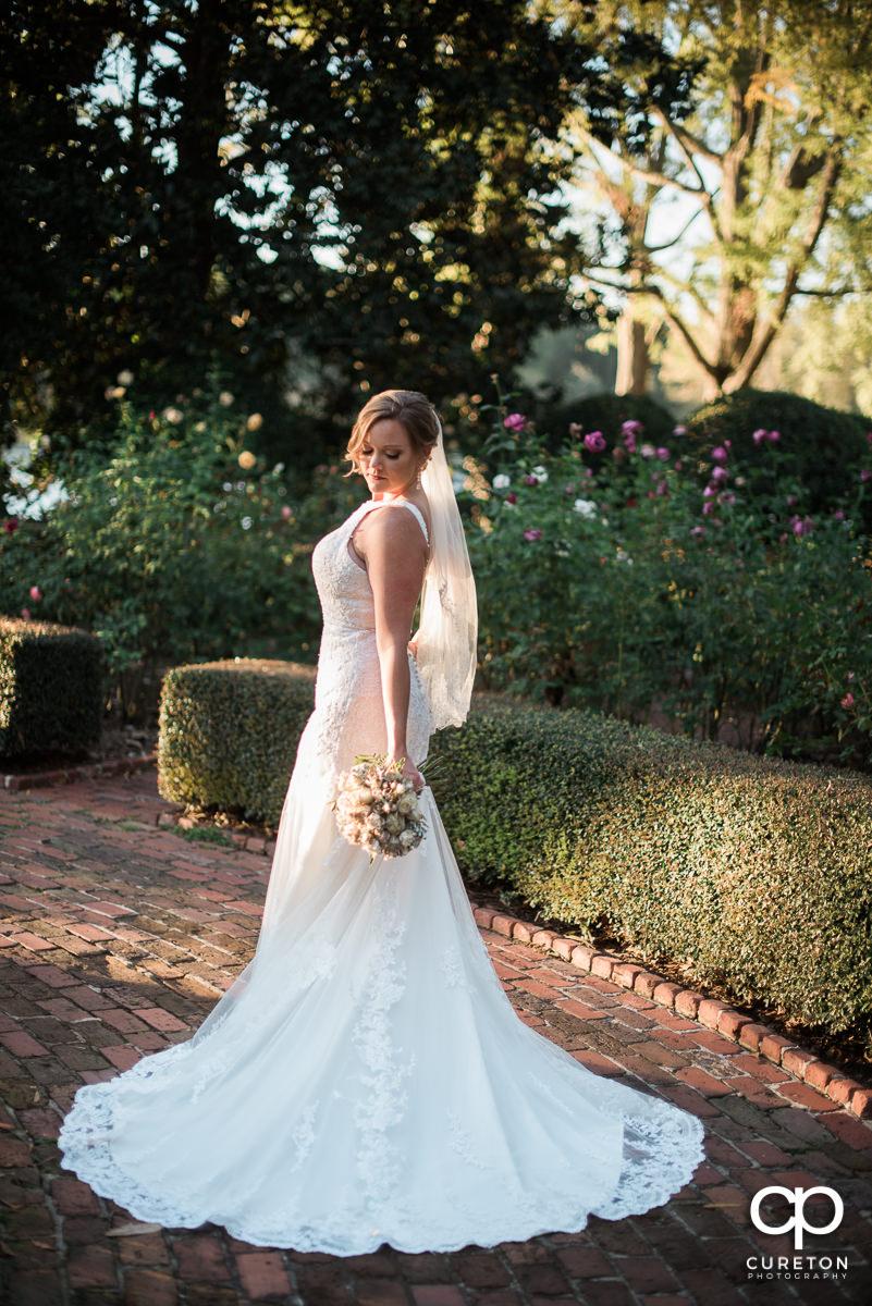 Bride in the rose garden at Furman.