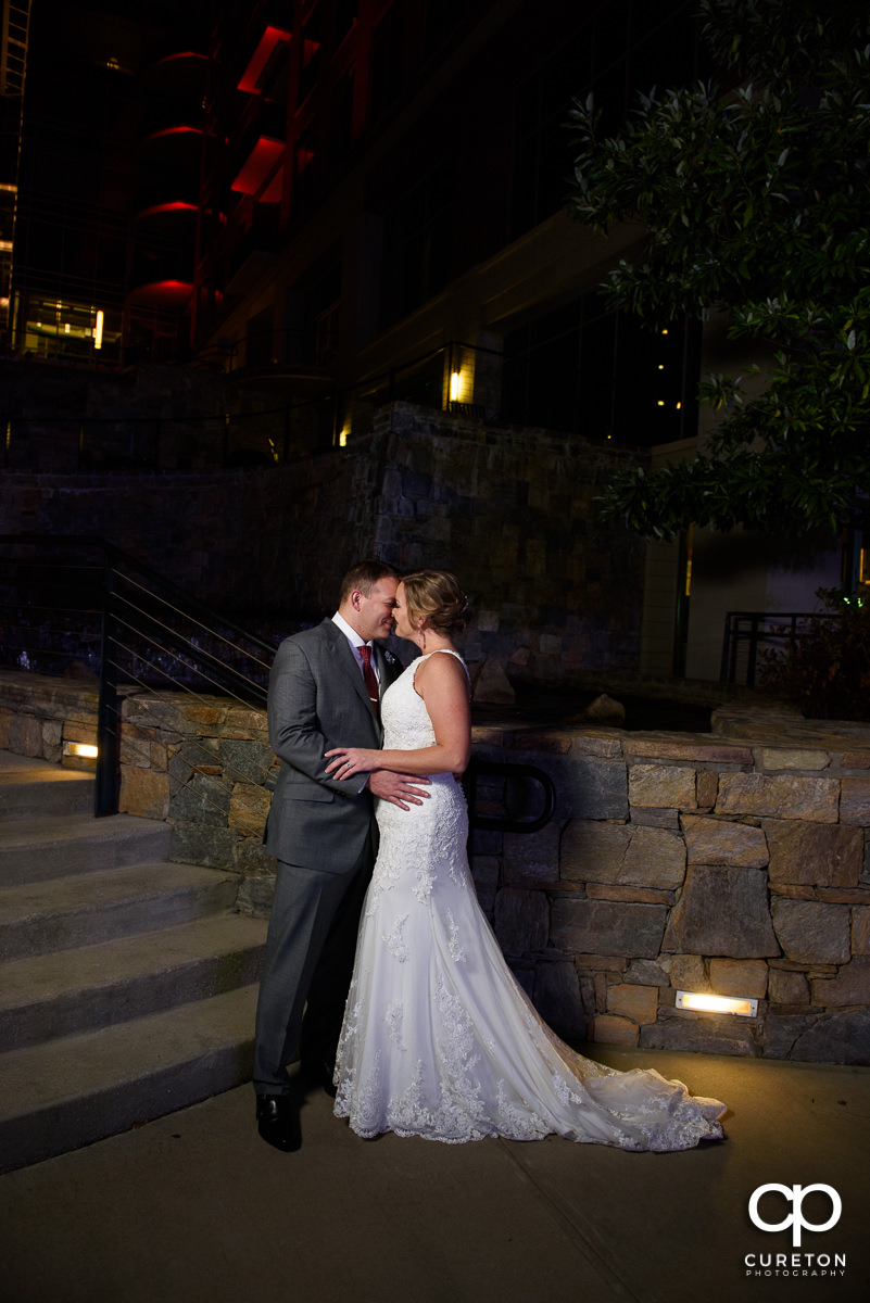 Bride and groom dancing in downtown Greenville,SC.