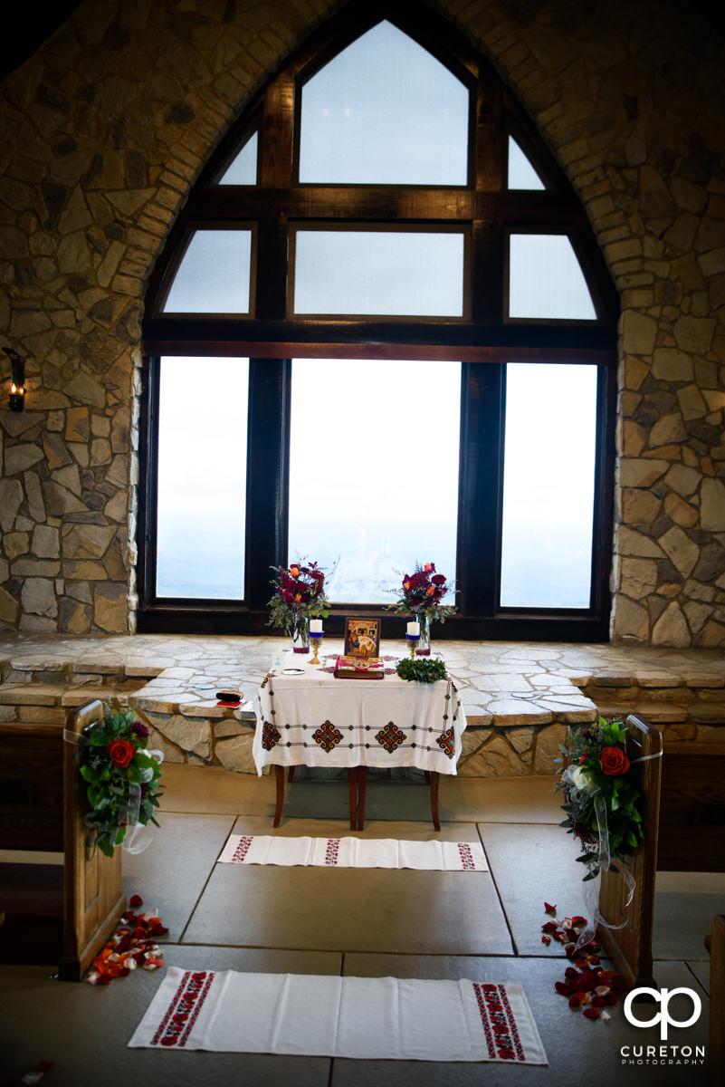 Glassy Chapel setup for a Ukrainian Catholic Wedding.