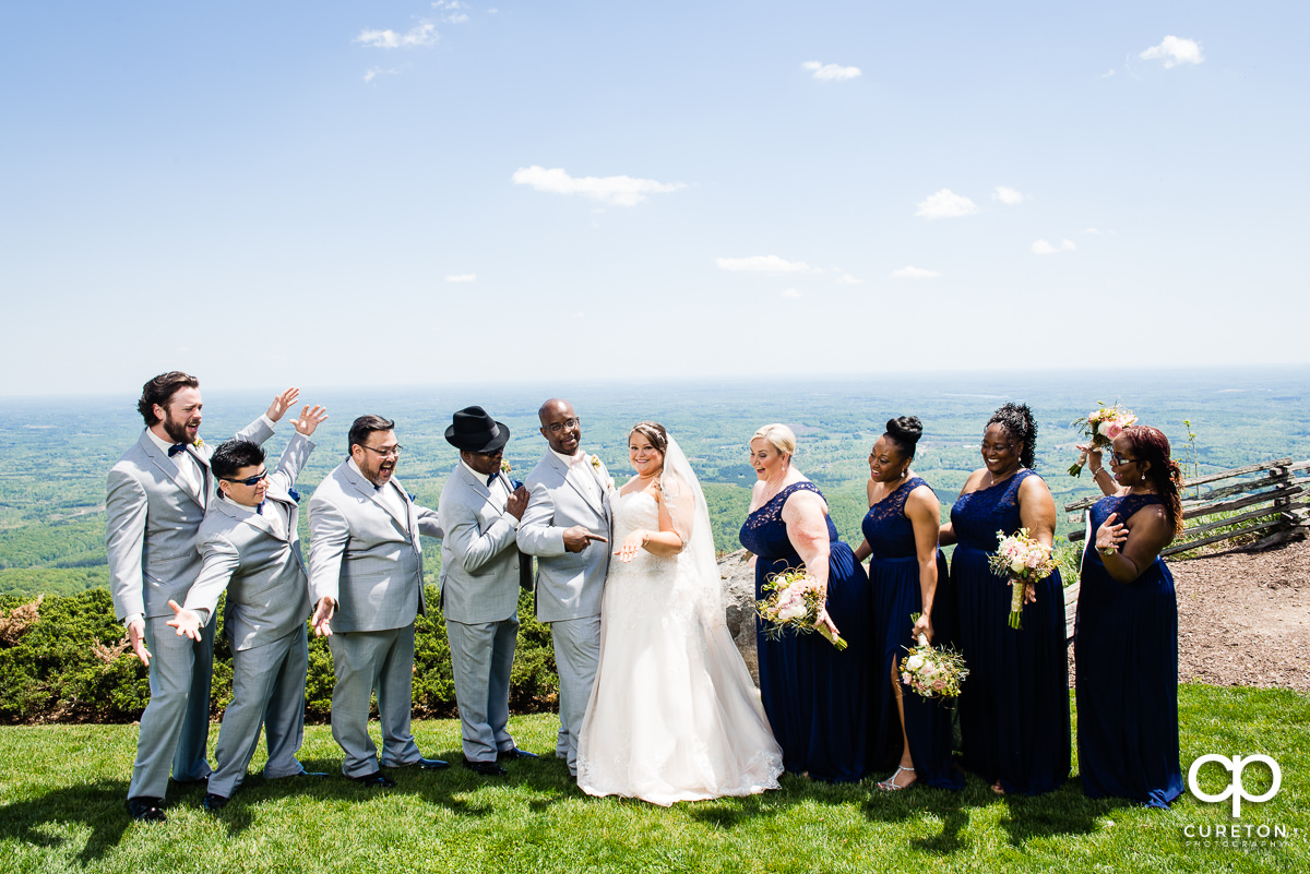 Wedding party by the overlook at Glassy Chapel.