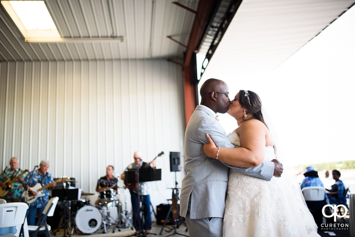 Bride and groom first dance at the Runway Cafe Hangar.