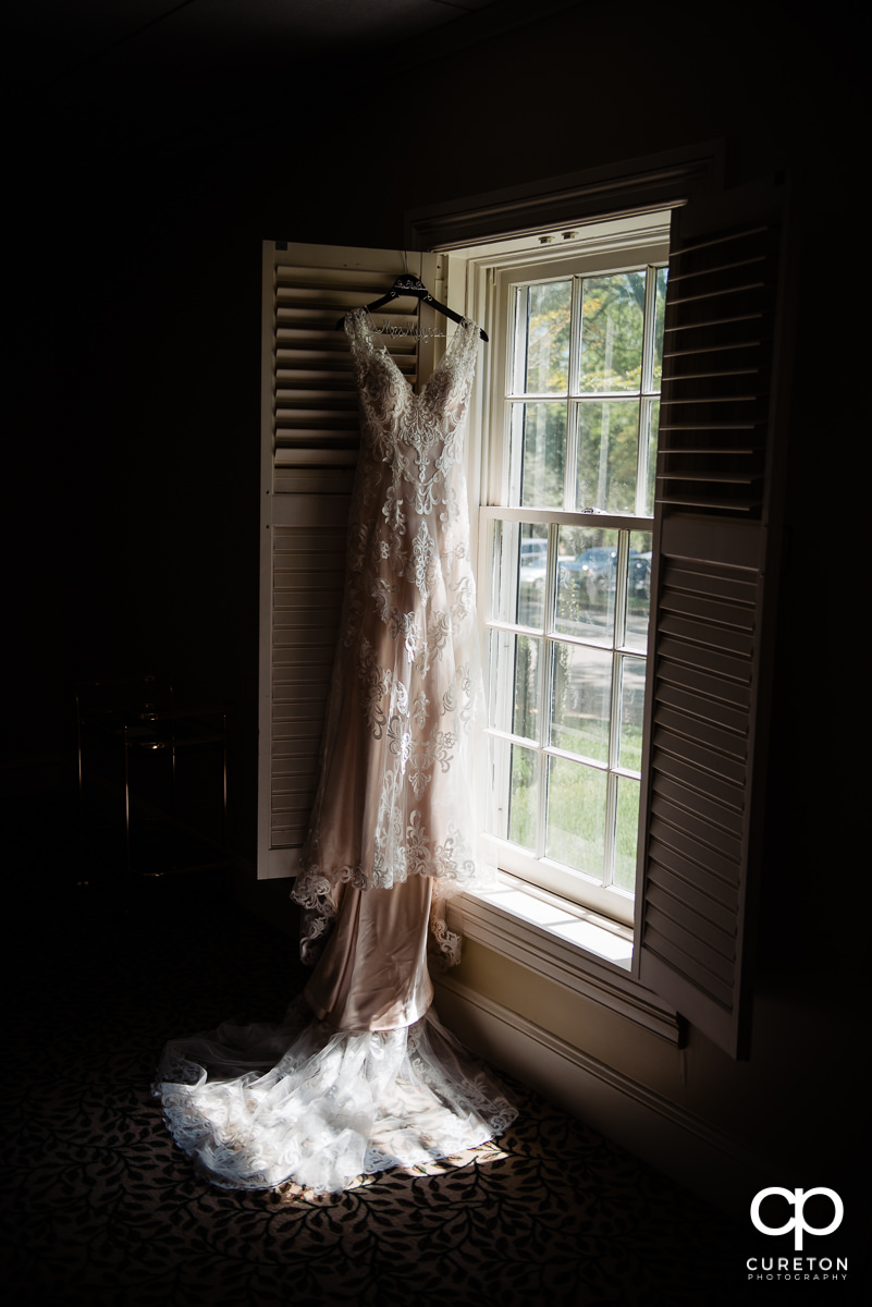Bridal dress hanging up at Green Valley.
