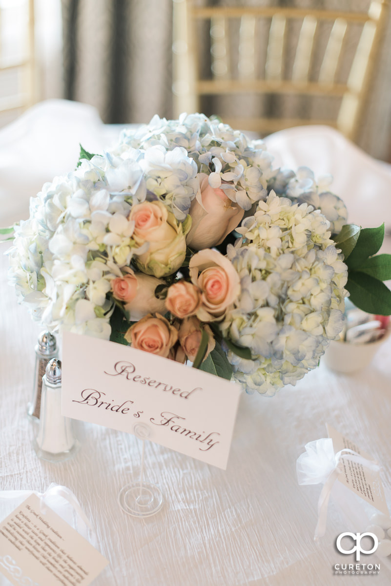 Floral arrangement at the wedding reception.