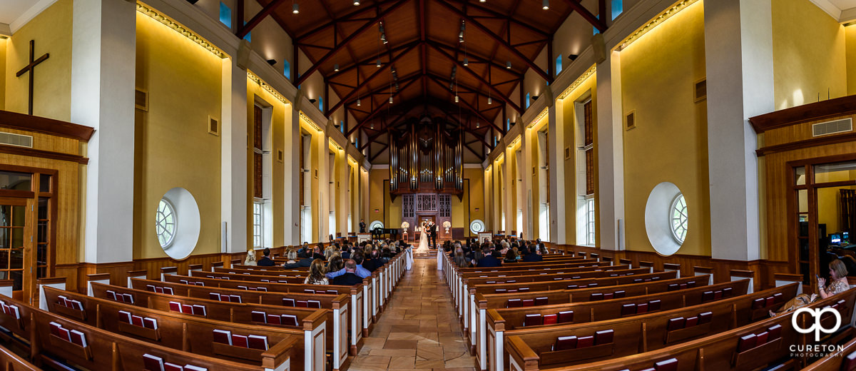Daniel Chapel Wedding Ceremony panoramic view.