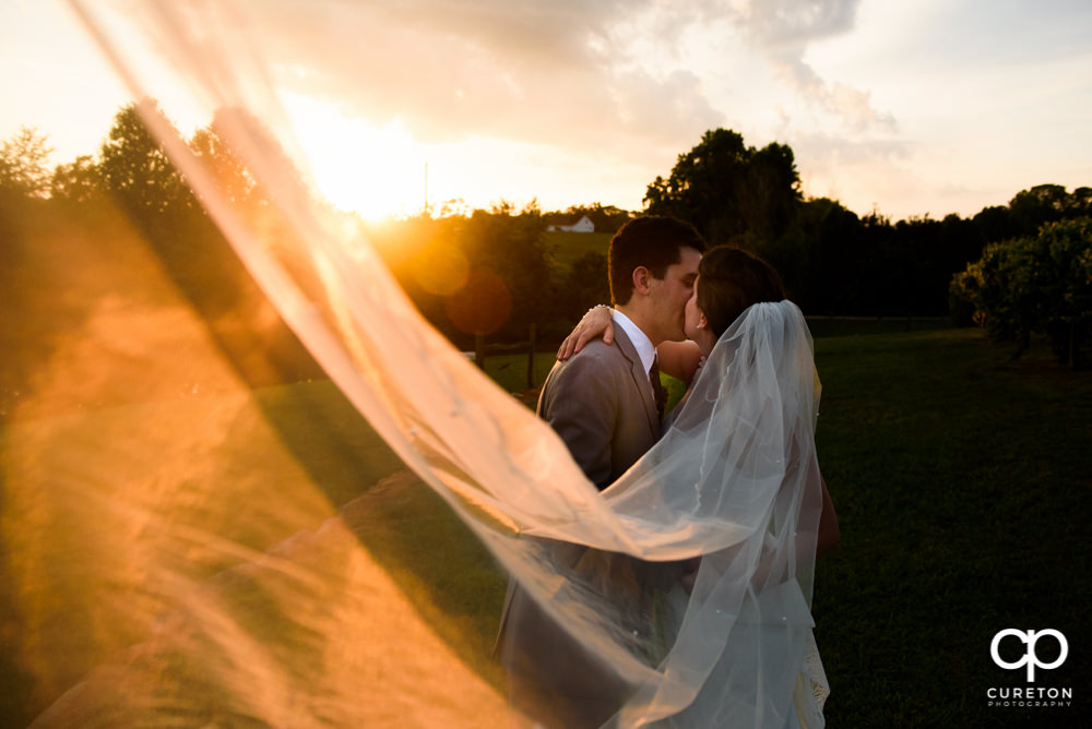 Bride and groom kissing at sunset after their indoor wedding at Greenbrier Farms in Easley SC.
