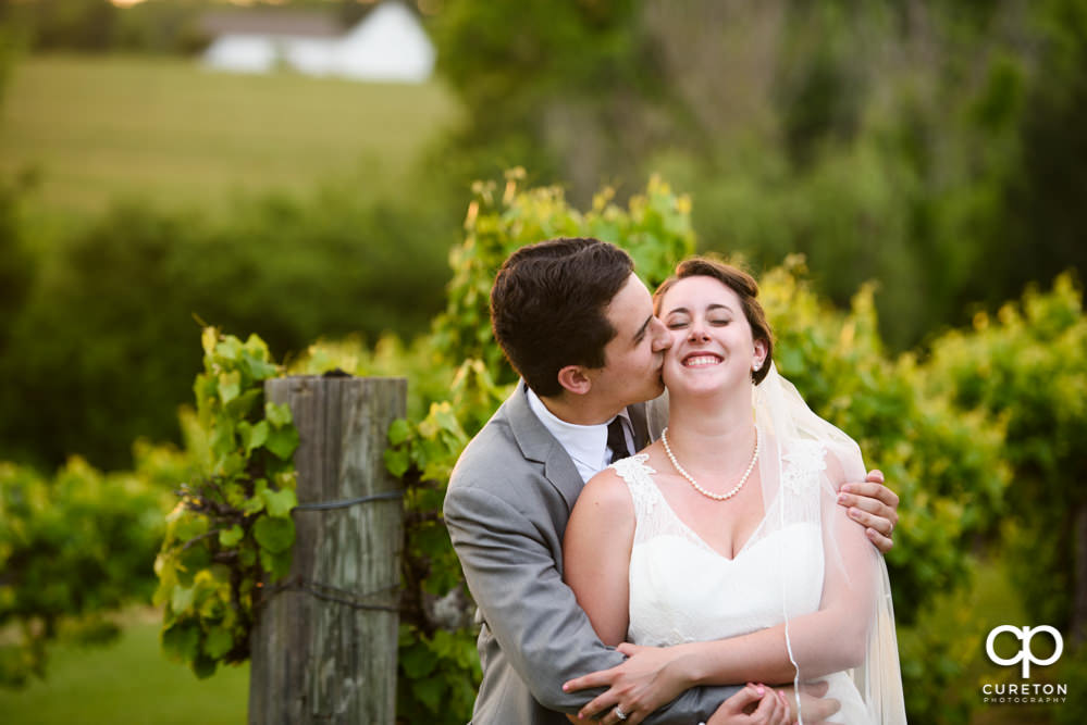 Groom kissing his bride in the vineyard at Greenbrier Farms.
