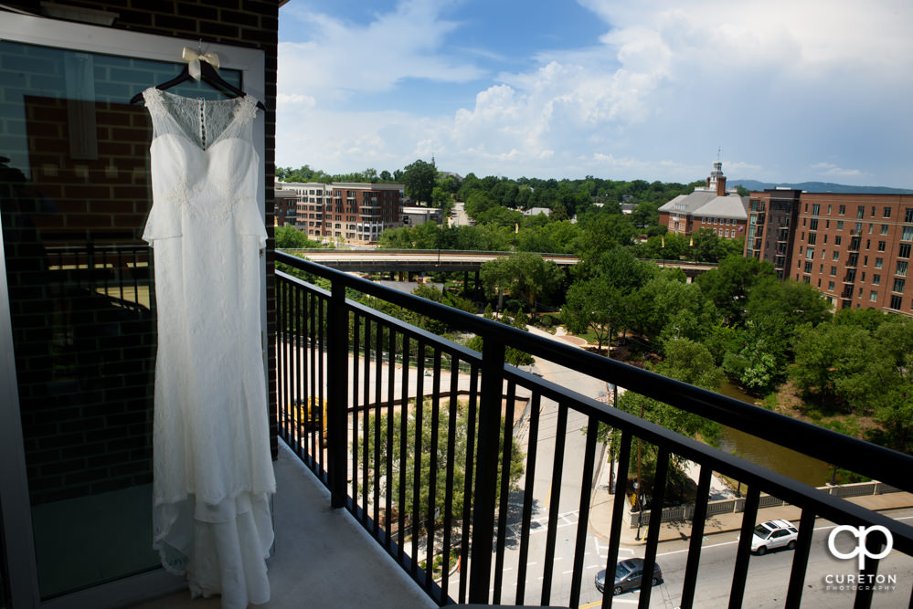 Bridal dress with a view of downtown Greenville in the background.