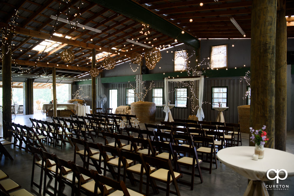 Greenbrier Farms setup for an indoor ceremony.