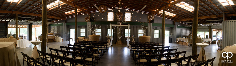 Pano of a Greenbrier Farms indoor wedding.