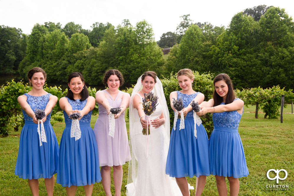 Bride and bridesmaids at Greenbrier Farms in Easley SC.