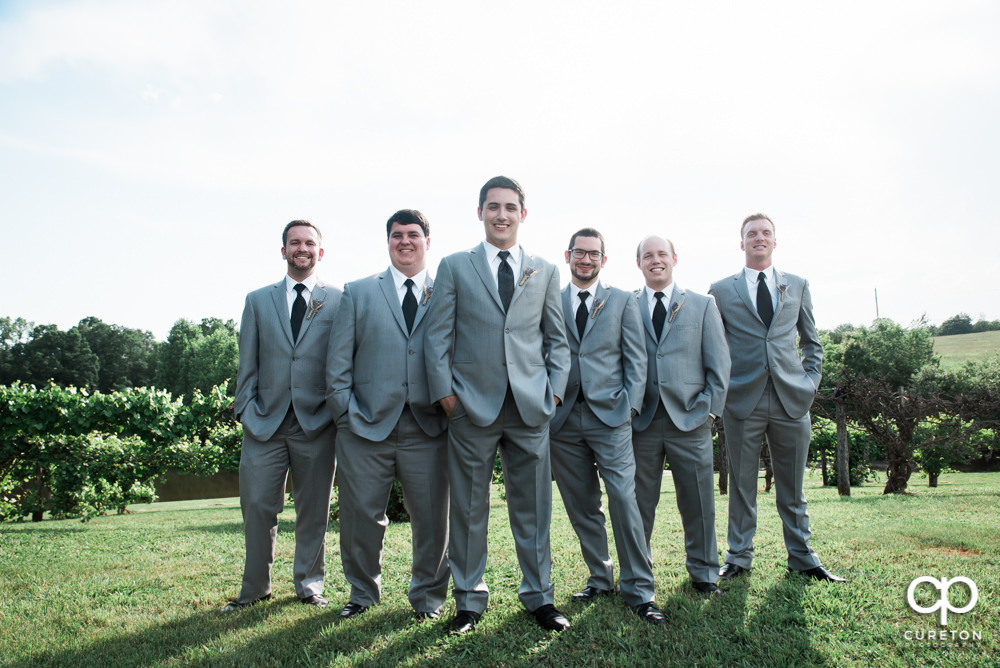 Groom and groomsmen at Greenbrier Farms.