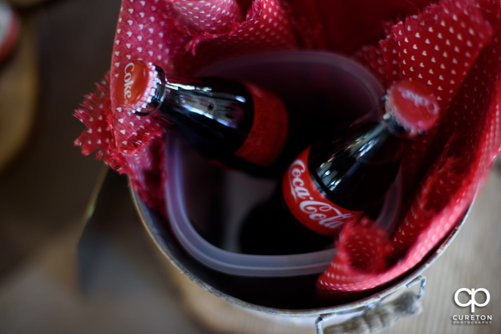 Coca cola for the wedding toast.