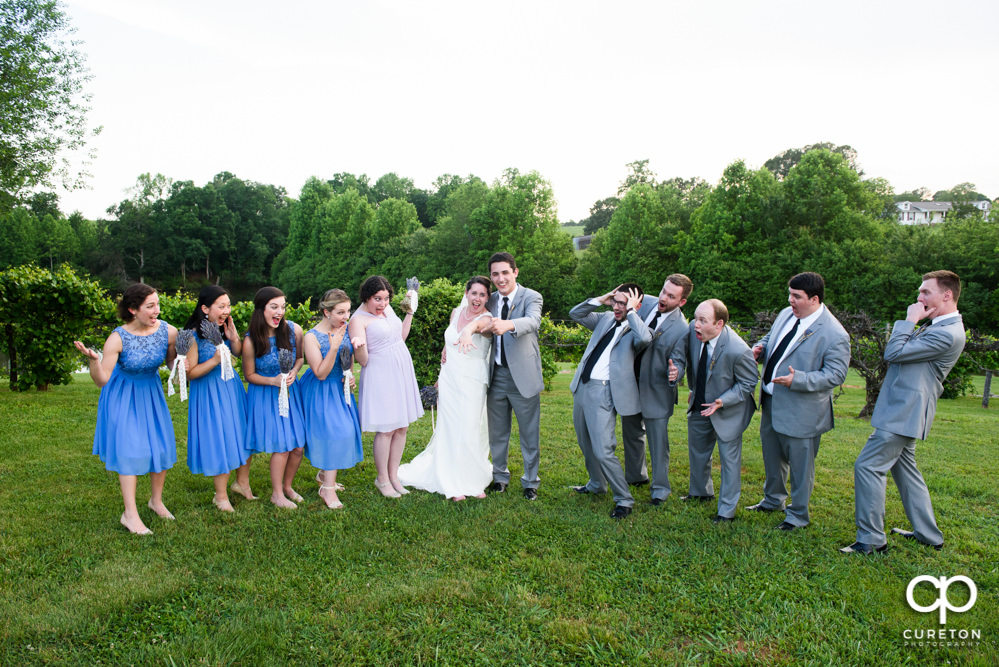 Wedding party in front of the vineyard at Greenbrier Farms.