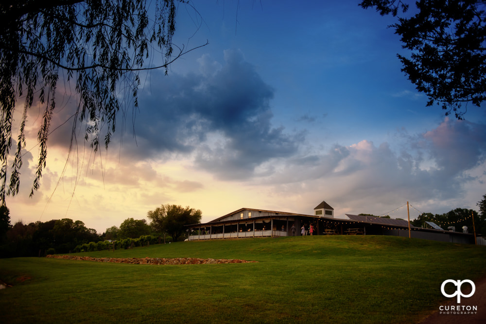 Greenbrier Farms, a wedding venue in Easley SC, at sunset.