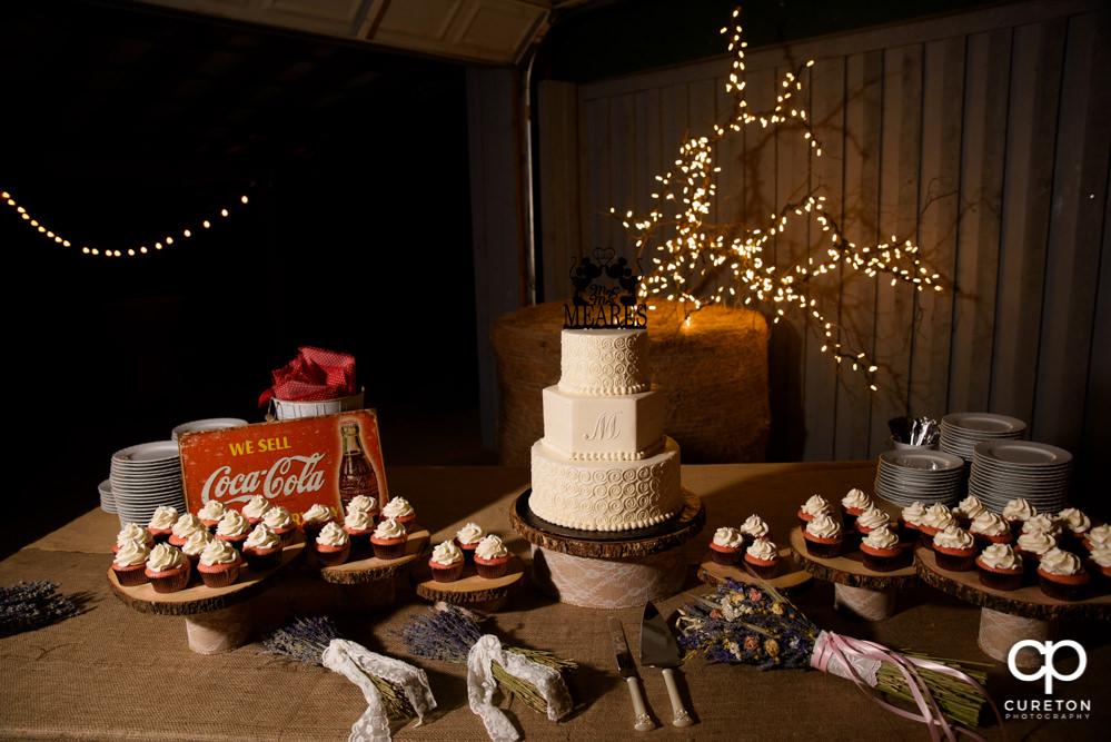 Wedding cake and cupcake.
