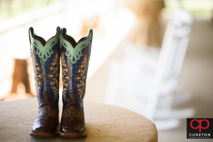 Bride's cowboy boots.